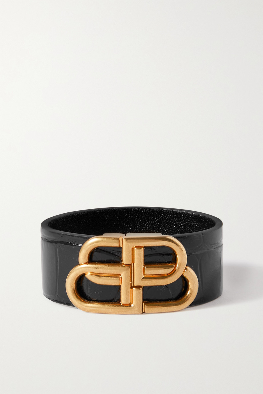 Balenciaga Glossed croc-effect leather and gold-tone cuff