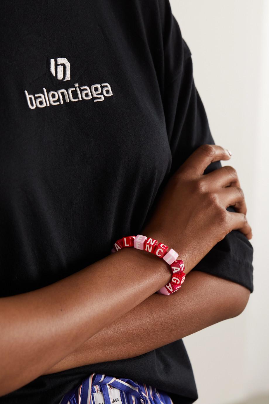 Balenciaga Bracelet en métal argenté et perles Toy