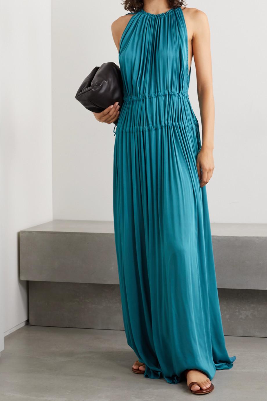 BONDI BORN + NET SUSTAIN Resplendent gathered washed-satin maxi dress