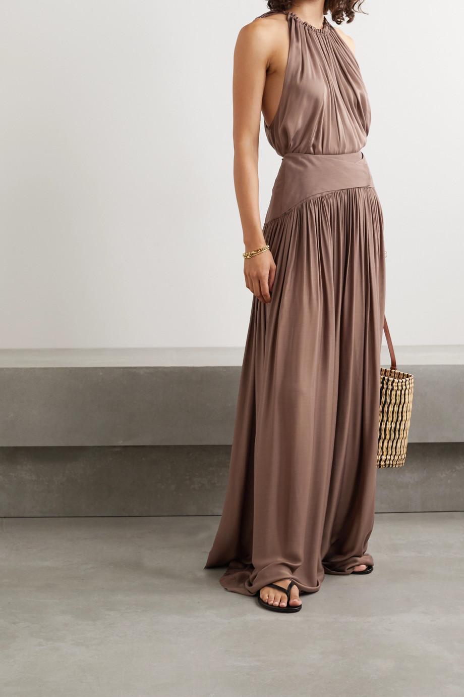BONDI BORN + NET SUSTAIN Ripple gathered washed-satin maxi skirt