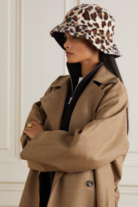 rag & bone Addison wendbarer Fischerhut aus Shell und Faux Fur mit Leopardenprint