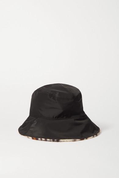 rag & bone - Addison Reversible Shell And Leopard-print Faux Fur Bucket Hat - Black