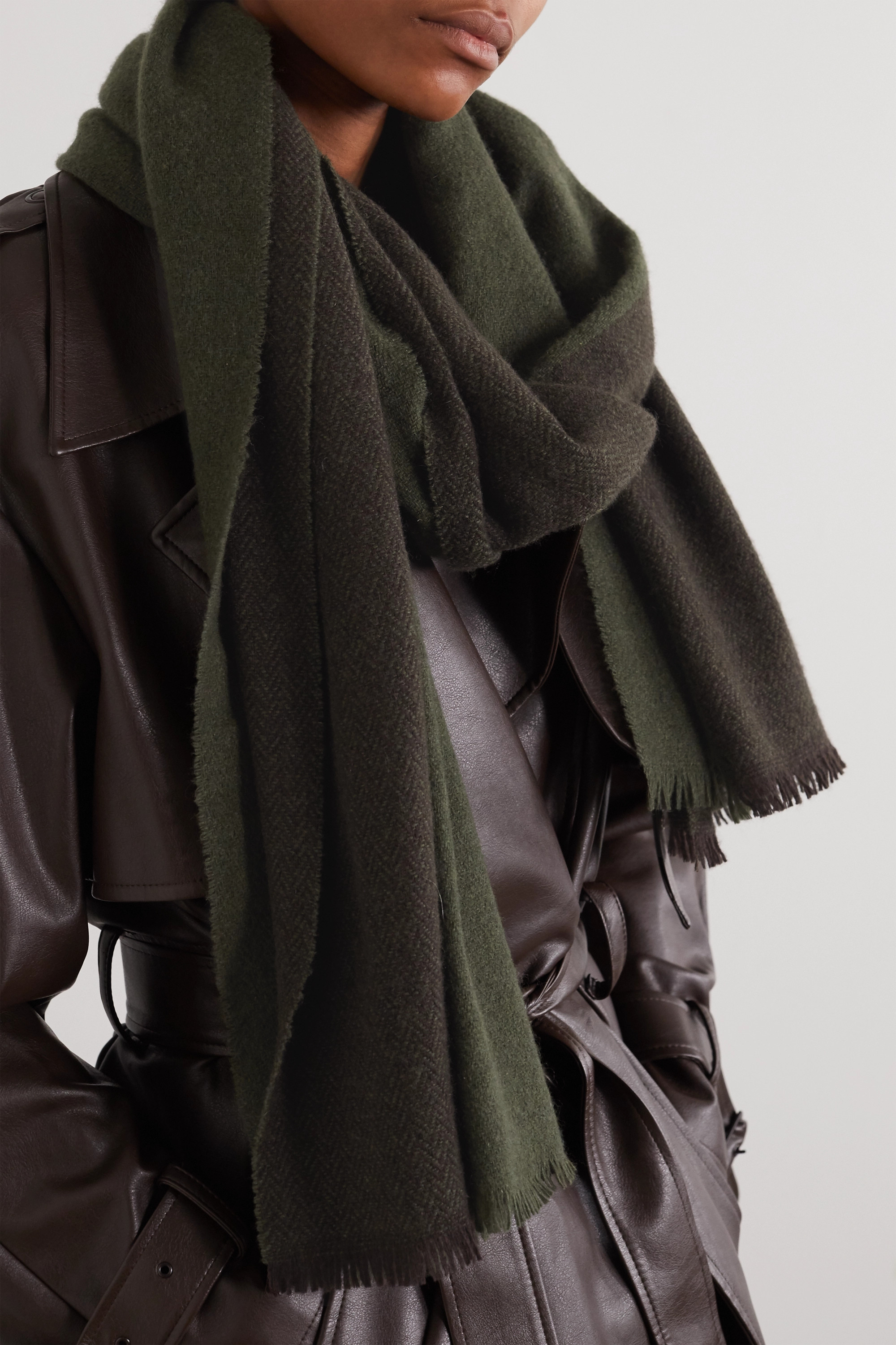rag & bone Riley fringed two-tone cashmere and wool-blend scarf