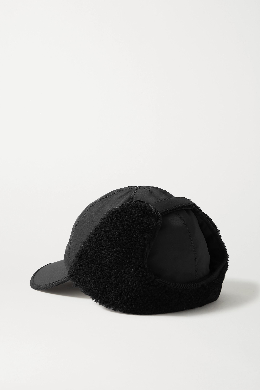 Fendi Shearling-trimmed embroidered shell baseball cap