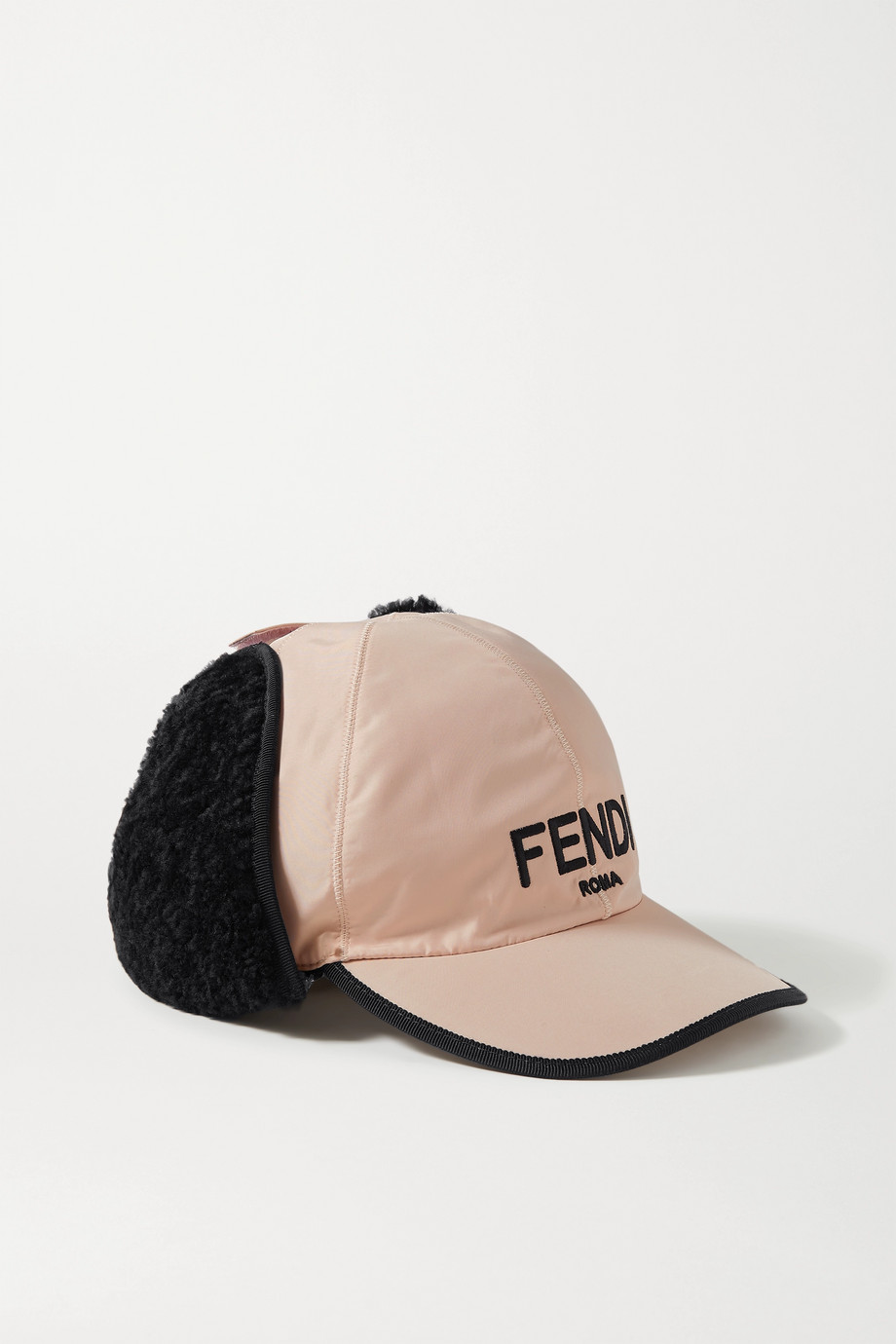 Fendi Shearling-trimmed embroidered shell baseball cap