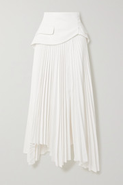 A.W.A.K.E. MODE Asymmetric layered pleated twill skirt