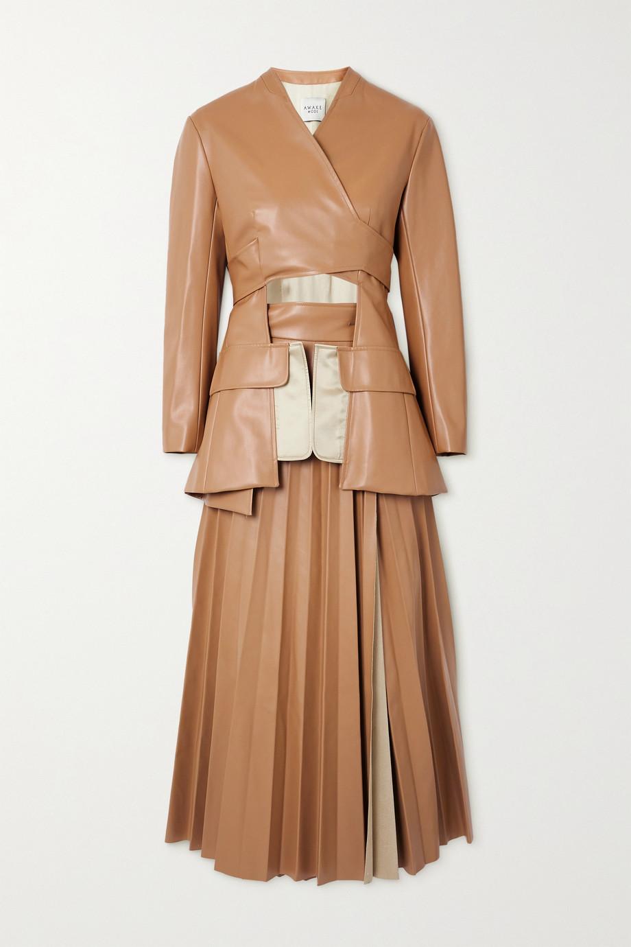 A.W.A.K.E. MODE Cutout pleated faux leather wrap maxi dress
