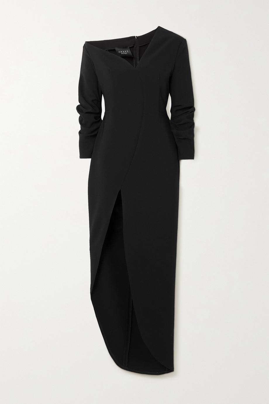 A.W.A.K.E. MODE Off-the-shoulder asymmetric crepe dress