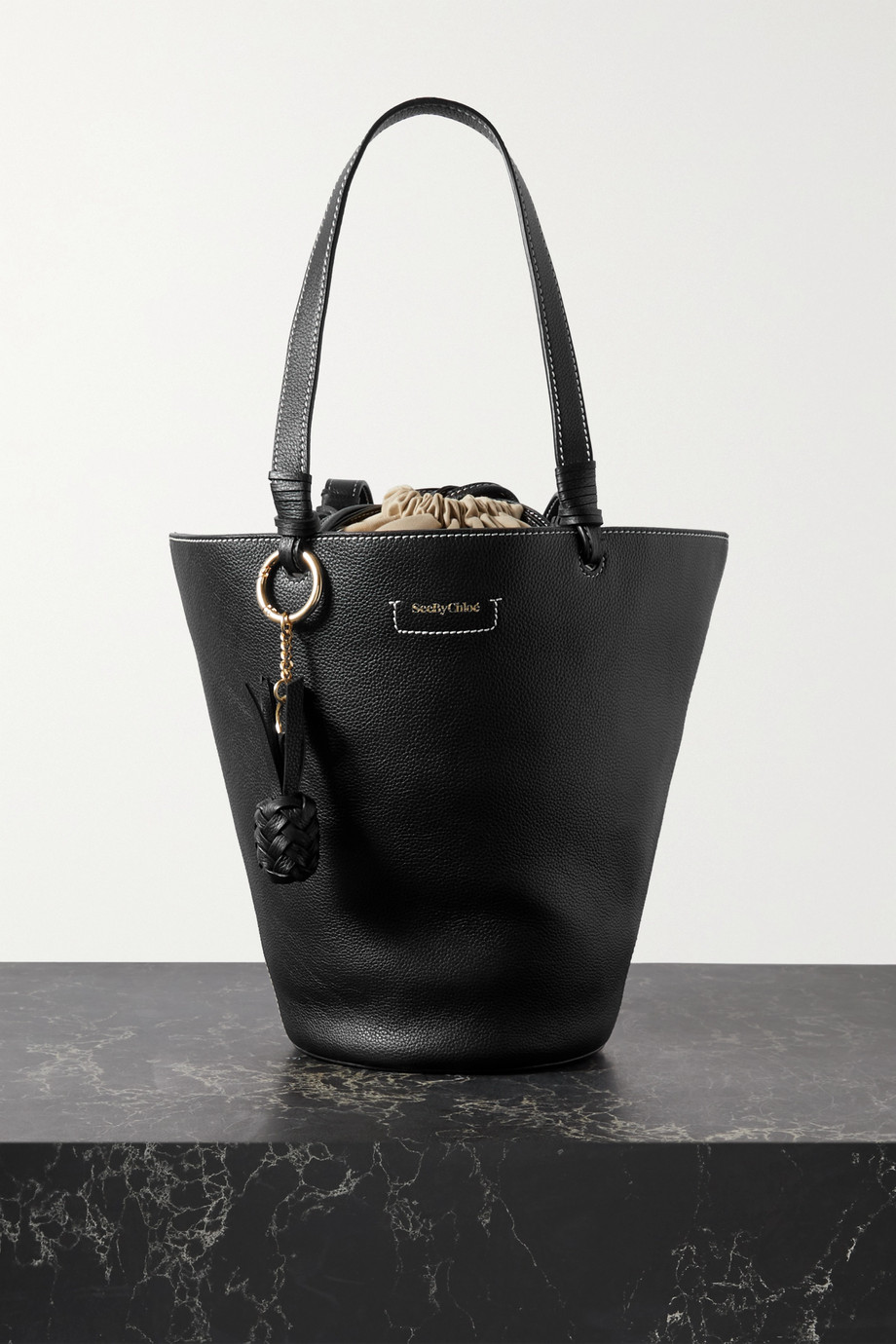 See By Chloé Cecilya medium textured-leather bucket bag