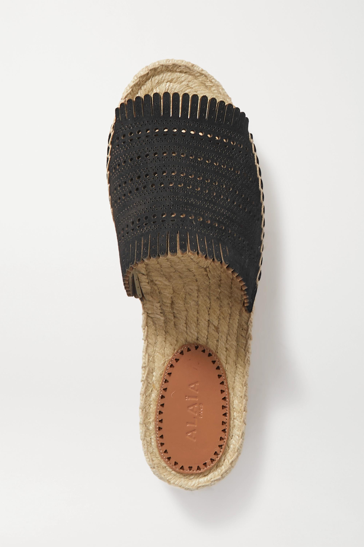 Alaïa Fringed laser-cut leather espadrille slides