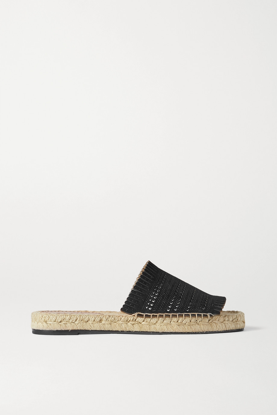 Alaïa Fringed laser-cut leather espadrille slides
