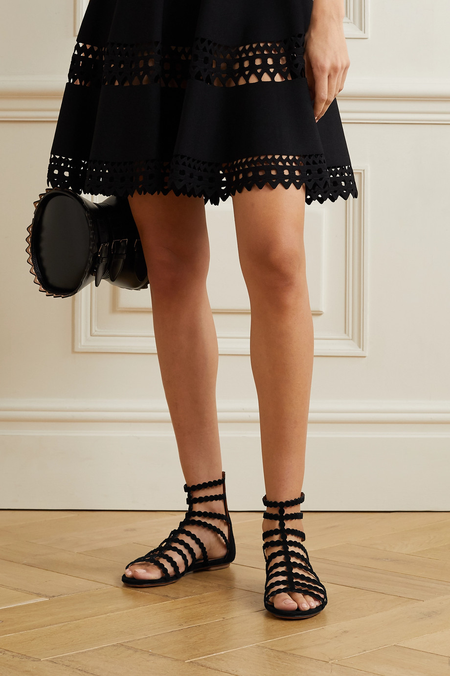 Alaïa Editions laser-cut suede sandals