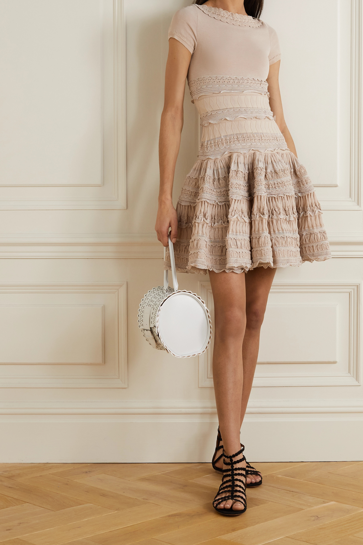 Alaïa Mini-robe en coton mélangé crocheté à volants Editions