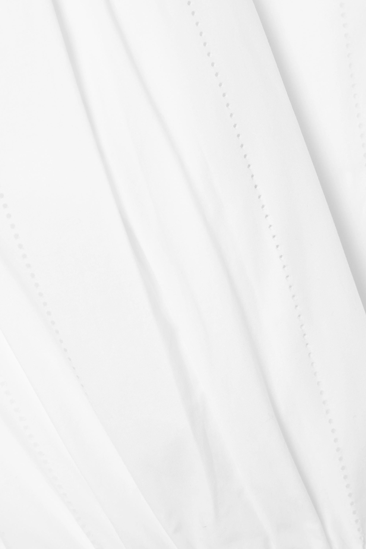 Alaïa Gathered laser-cut cotton-poplin dress