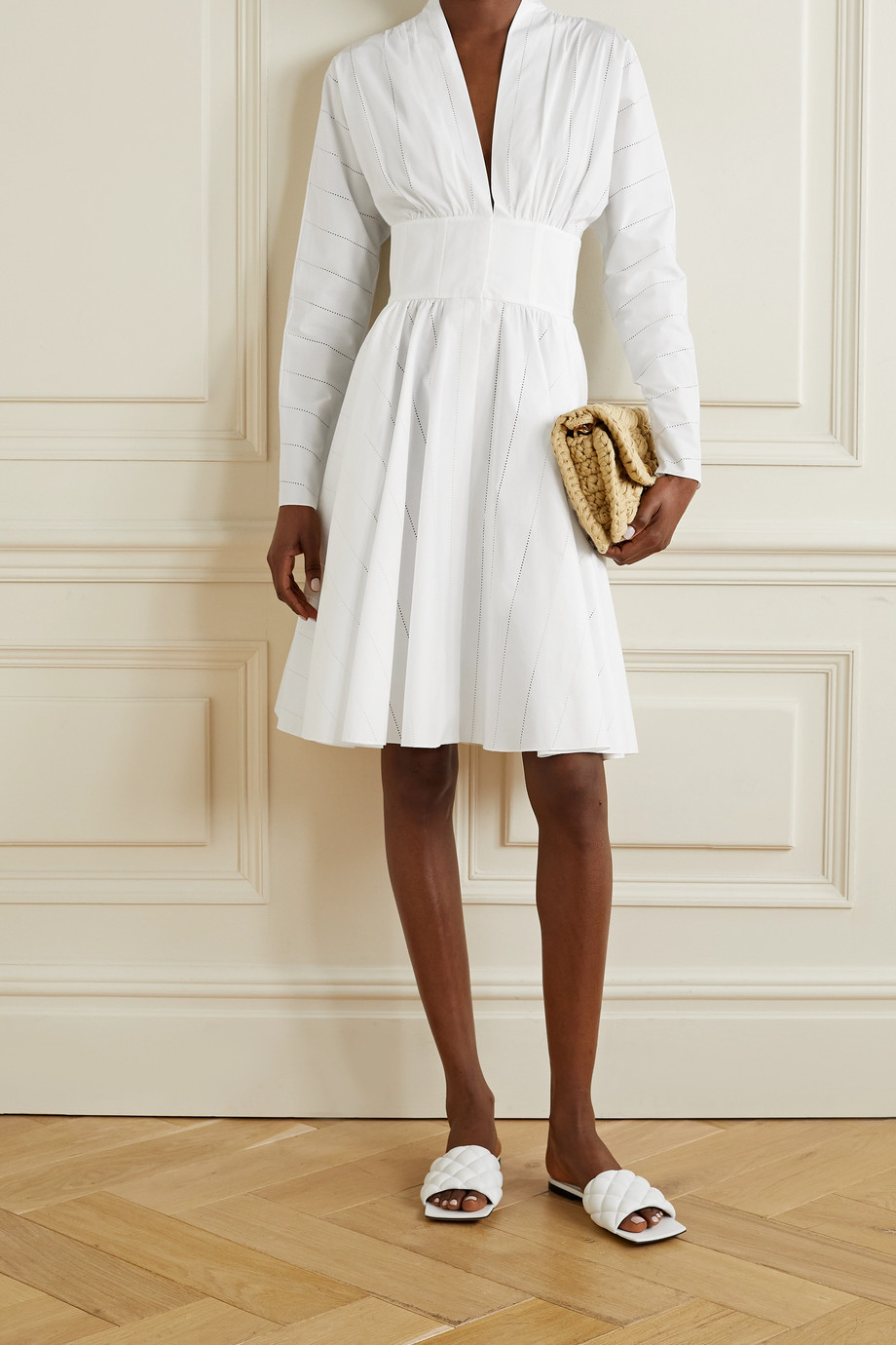 Alaïa Gathered laser-cut cotton-poplin dress
