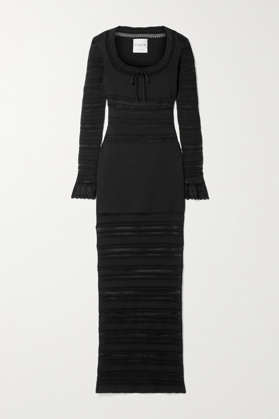 Alaïa Editions bow-detailed open-knit maxi dress