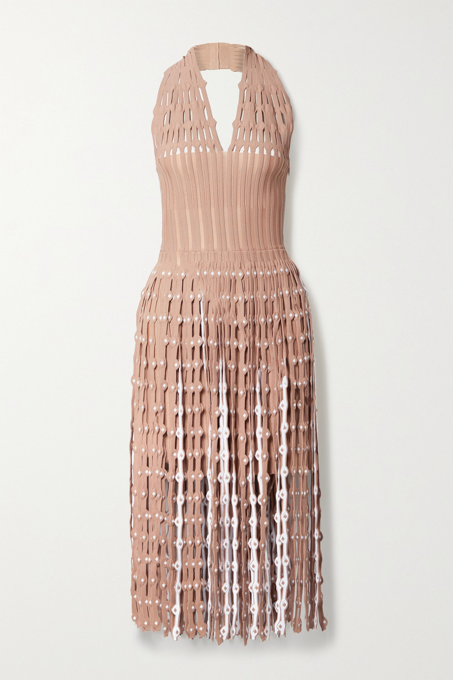 Alaïa Fringed cutout ribbed stretch-knit halterneck midi dress