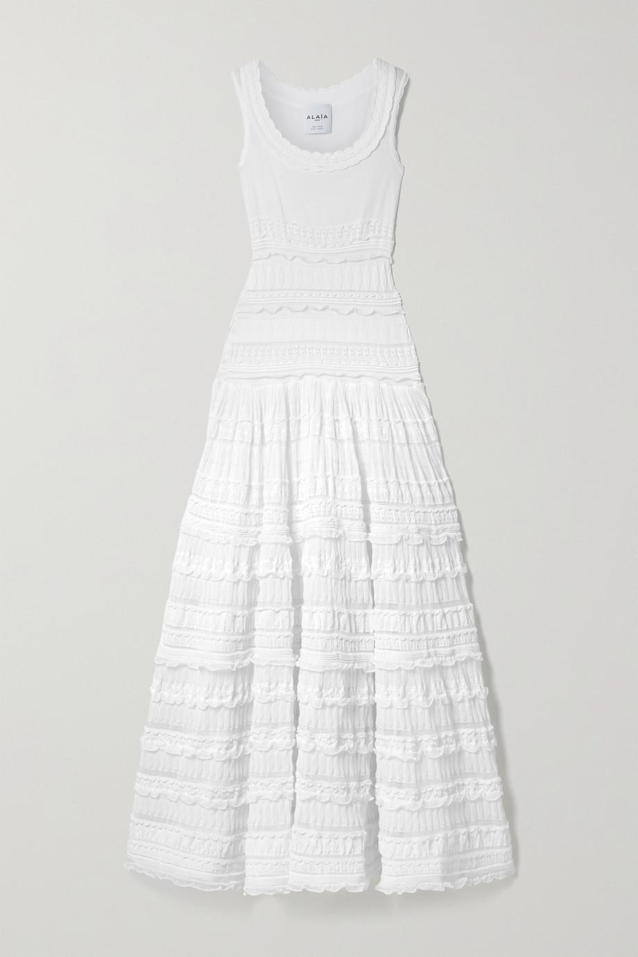 Alaïa Editions ruffled crocheted cotton-blend maxi dress