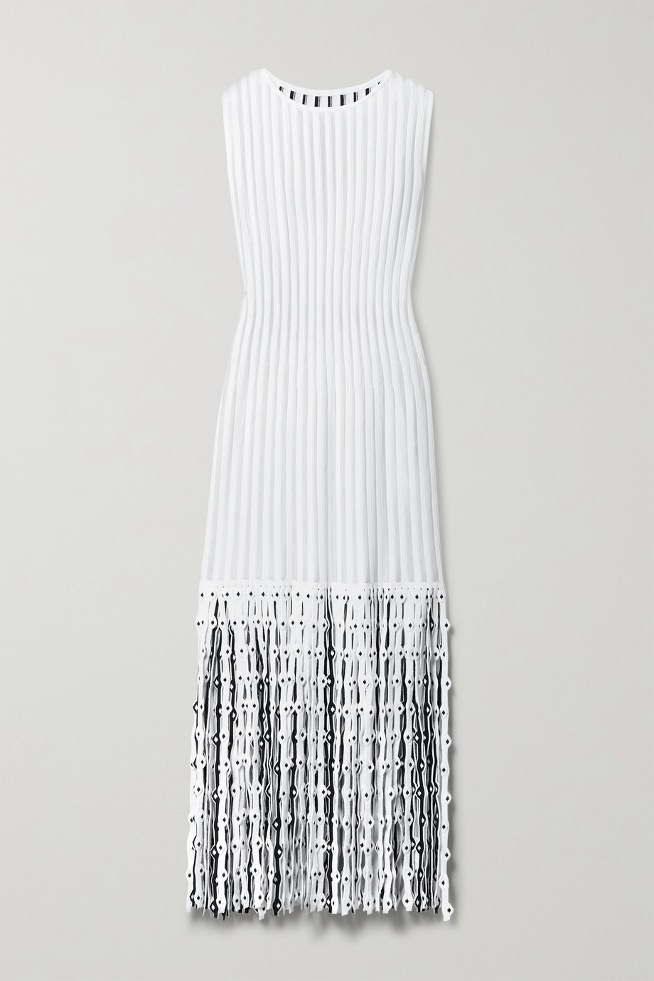Alaïa Fringed ribbed stretch-knit midi dress