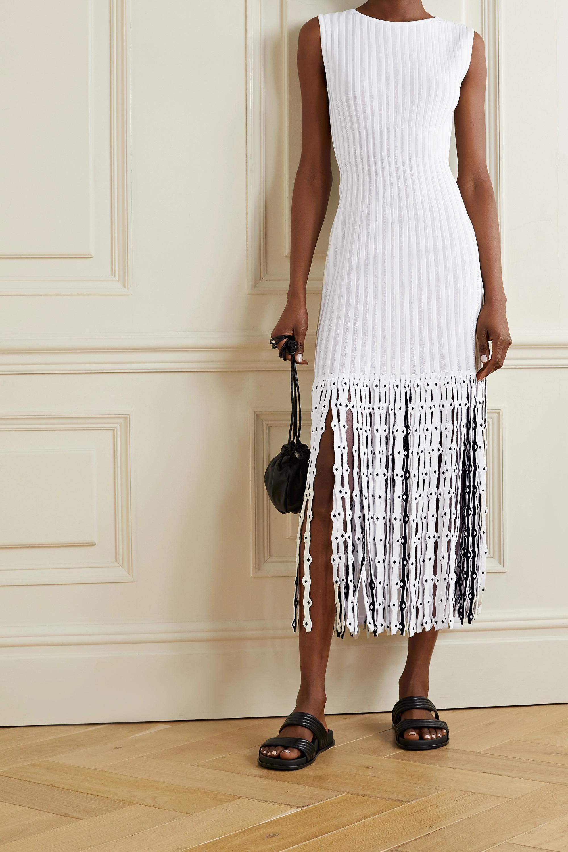 Alaïa Fringed ribbed stretch-knit midi dress