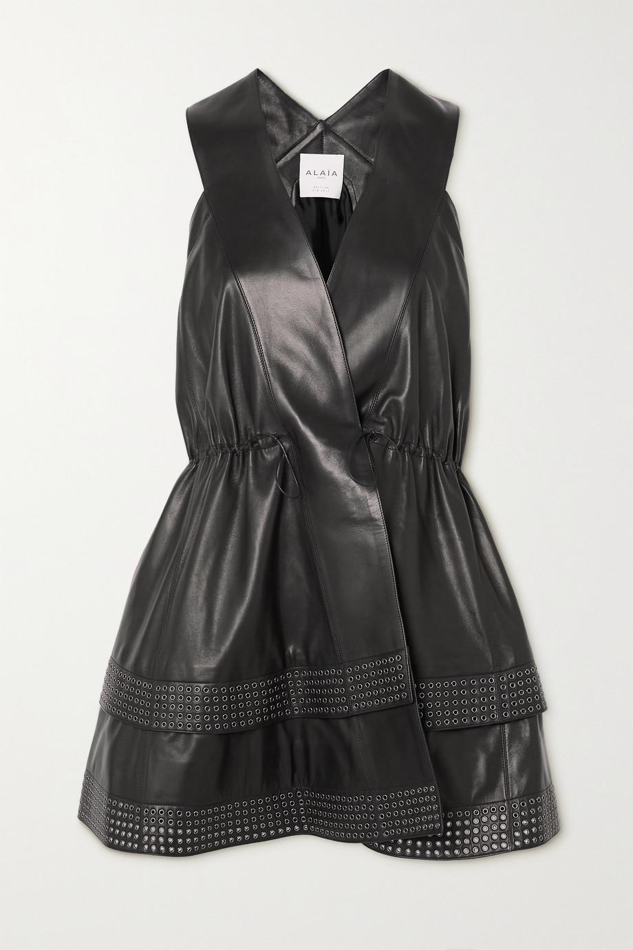 Alaïa Mini-robe portefeuille en cuir à œillets Editions