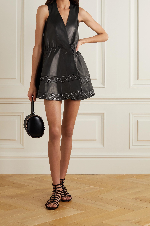 Alaïa Editions eyelet-embellished leather wrap mini dress