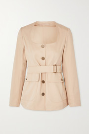 Alaïa Belted cotton-gabardine jacket