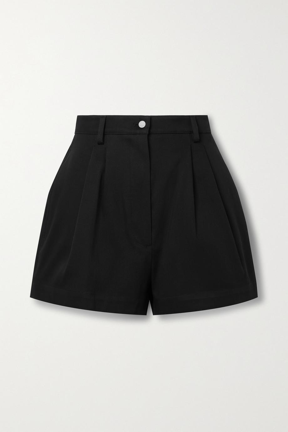 Alaïa 褶裥纯棉华达呢短裤