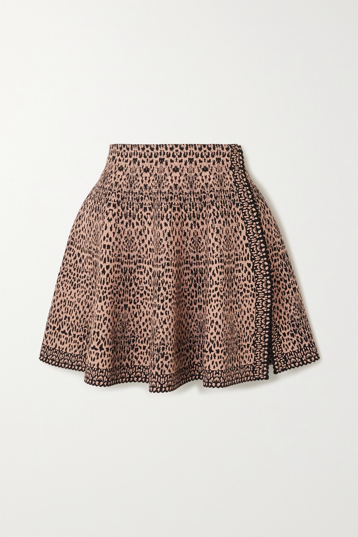 Alaïa Mini-jupe en mailles jacquard à godets