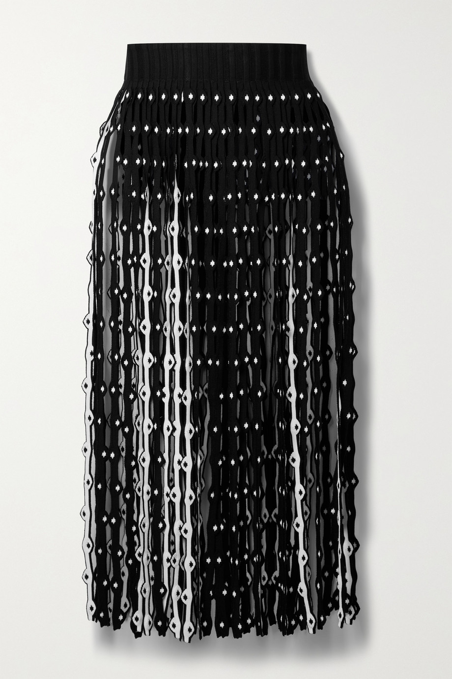 Alaïa Fringed stretch-knit midi skirt