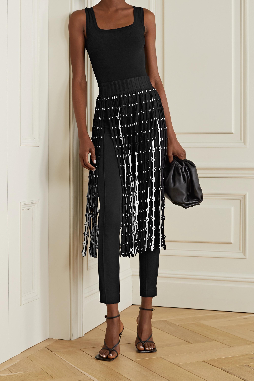 Alaïa Fringed stretch-knit midi skirt
