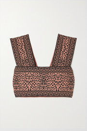 Alaïa Cropped leopard jacquard-knit top