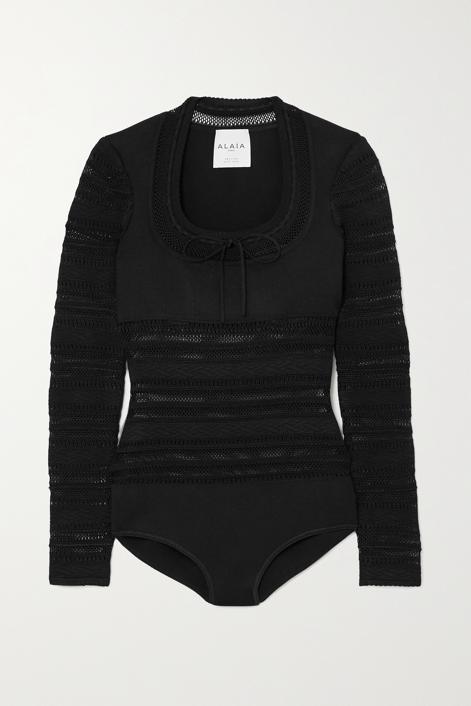 Alaïa Editions bow-detailed open-knit bodysuit