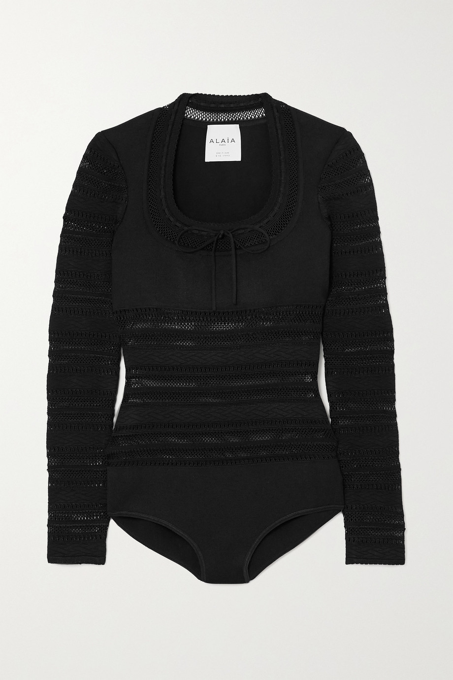 Alaïa Editions bow-detailed open-knit bodysuit