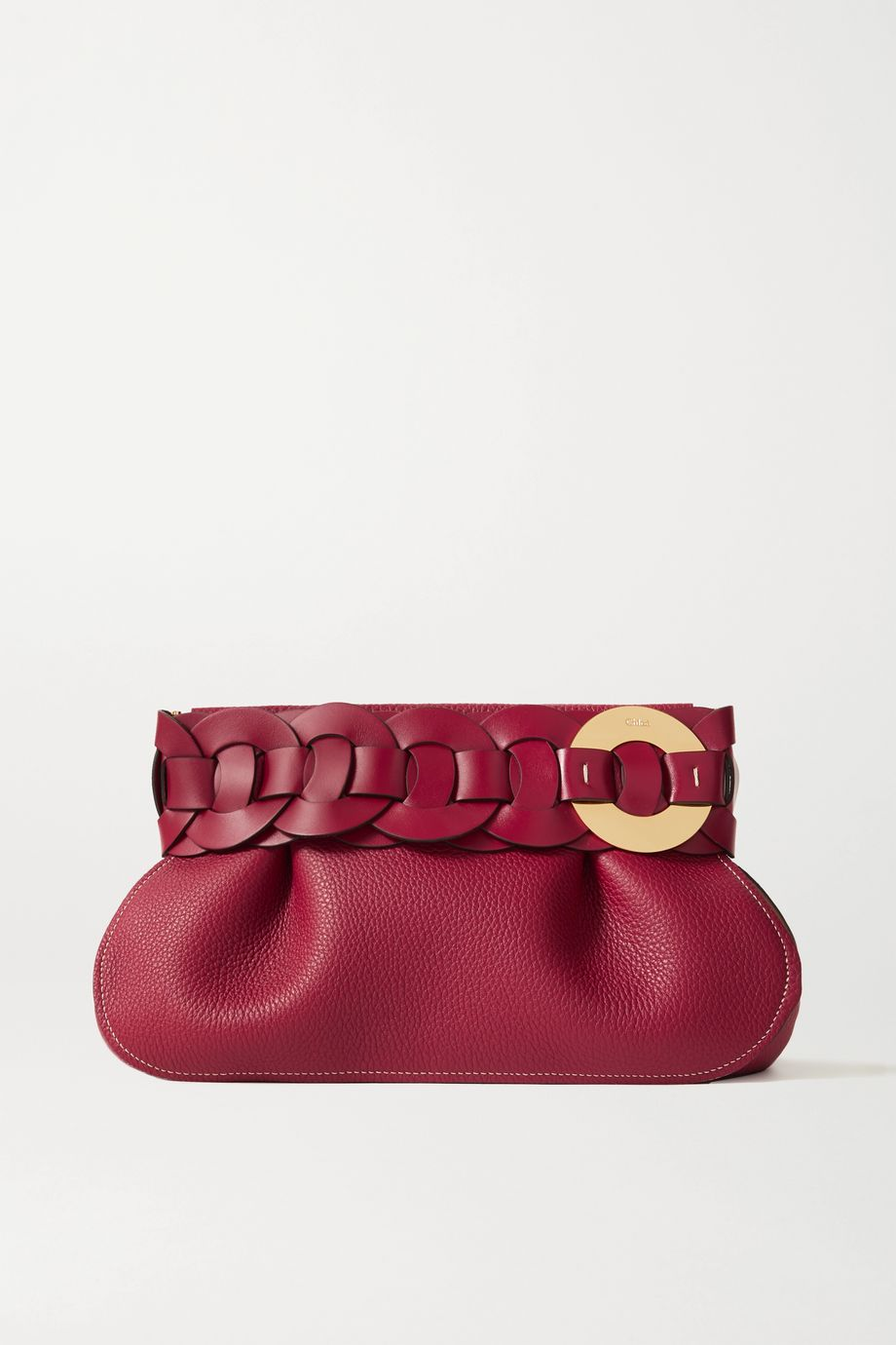 Chloé Darryl braided textured-leather clutch