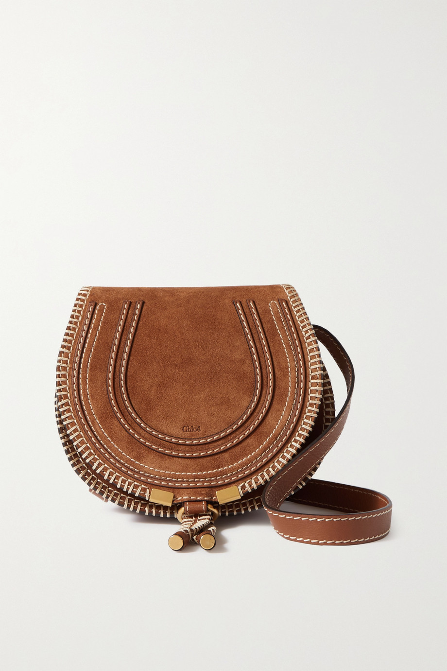 Chloé Marcie mini blanket-stitched suede and leather shoulder bag