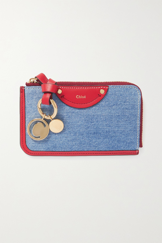 Chloé Alphabet Portemonnaie aus Leder und Denim