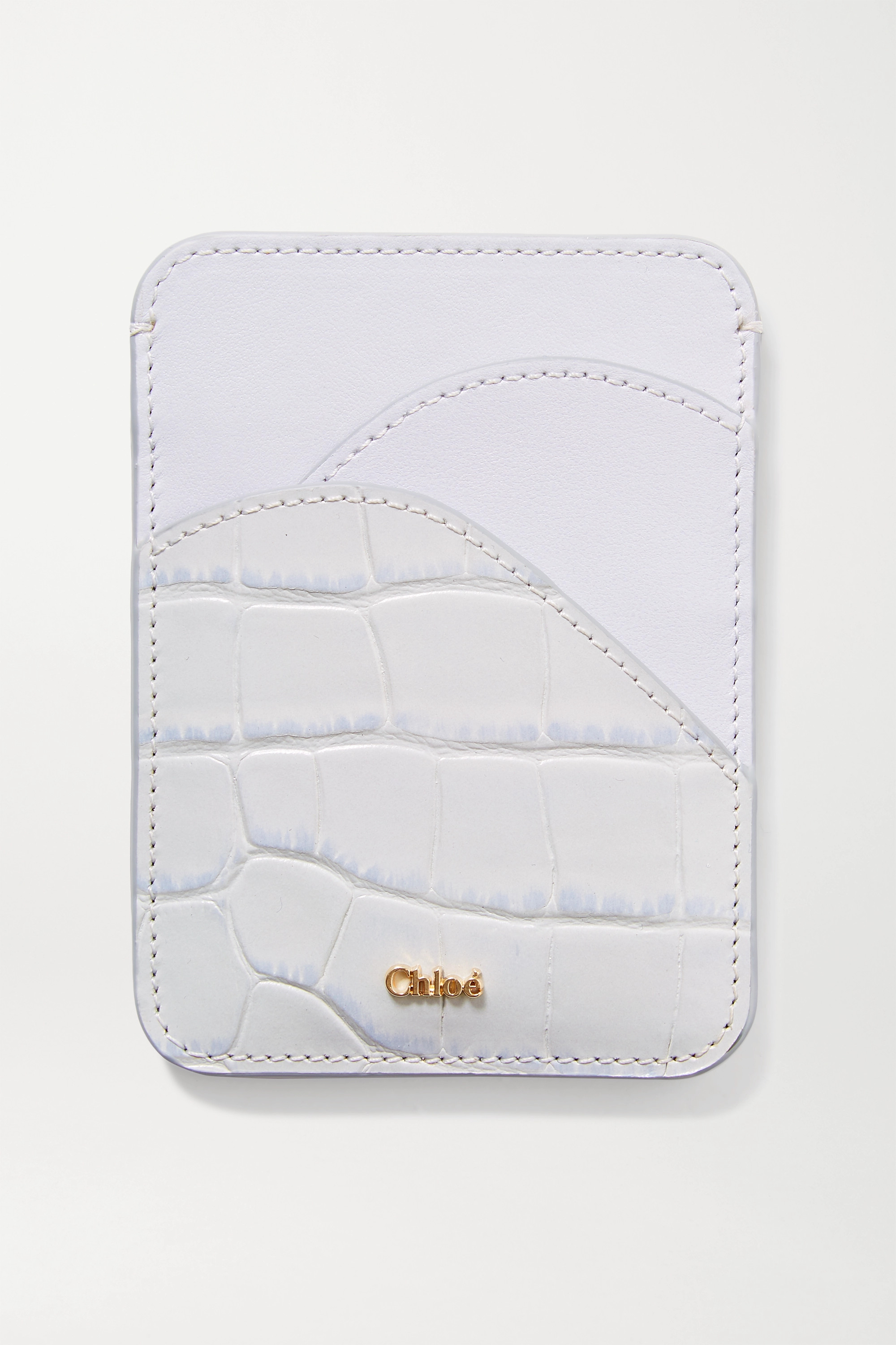 Chloé Walden smooth and croc-effect leather cardholder