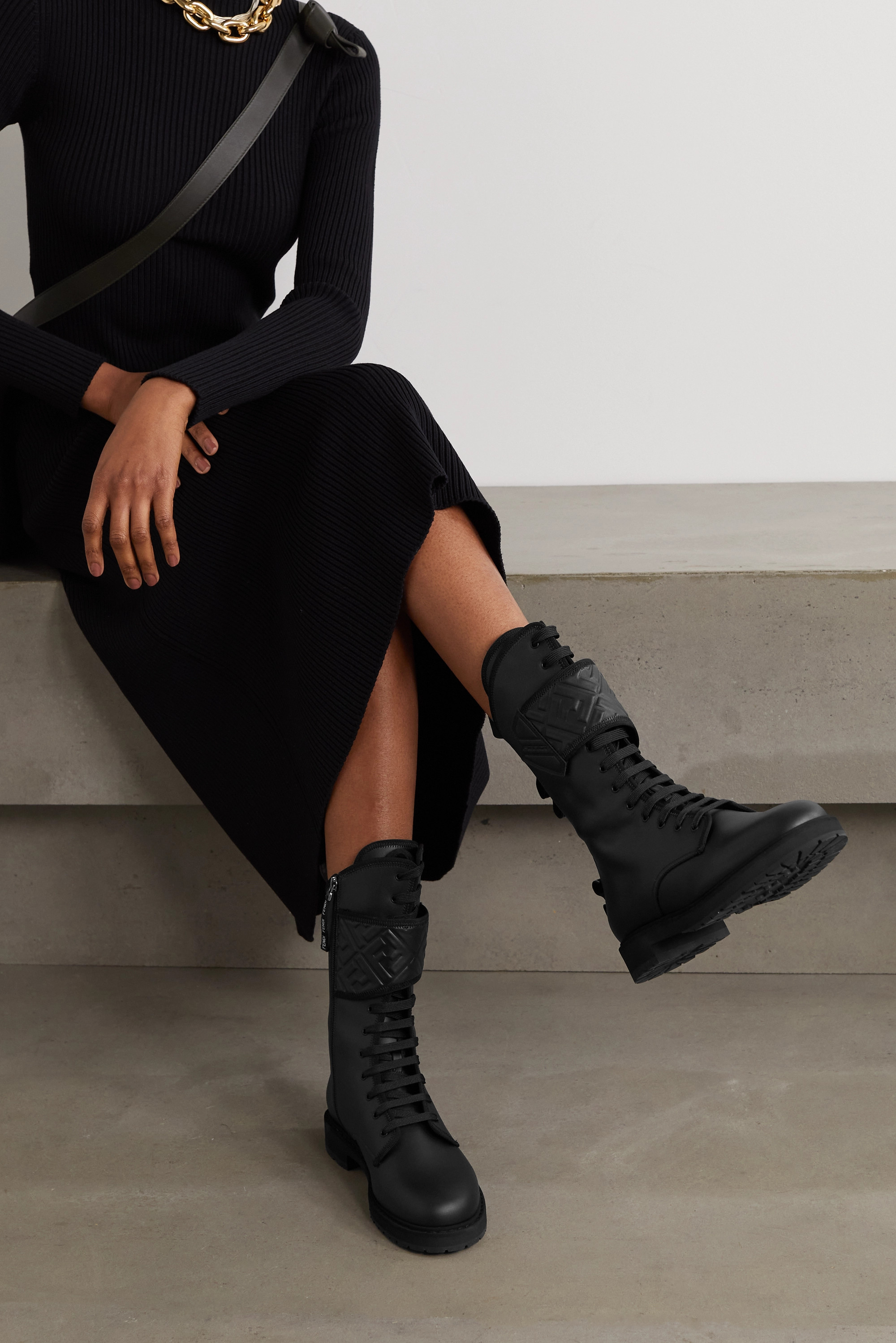 Fendi Jacquard-trimmed logo-embossed leather ankle boots