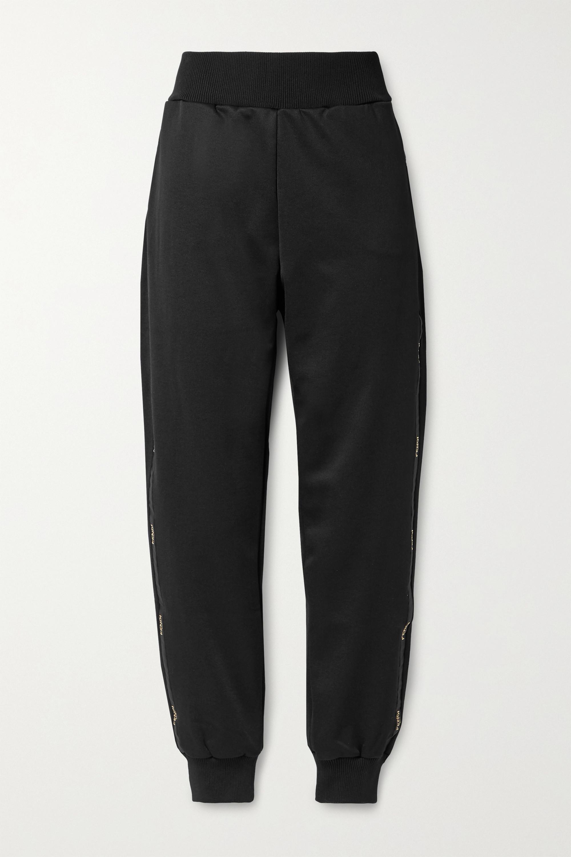 Fendi Jogginghose aus glänzendem Jersey mit Jacquard-Besätzen