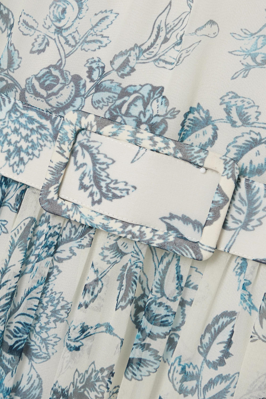 Erdem Adriana Midikleid aus Seiden-Voile mit Blumenprint, Rüschen und Gürtel