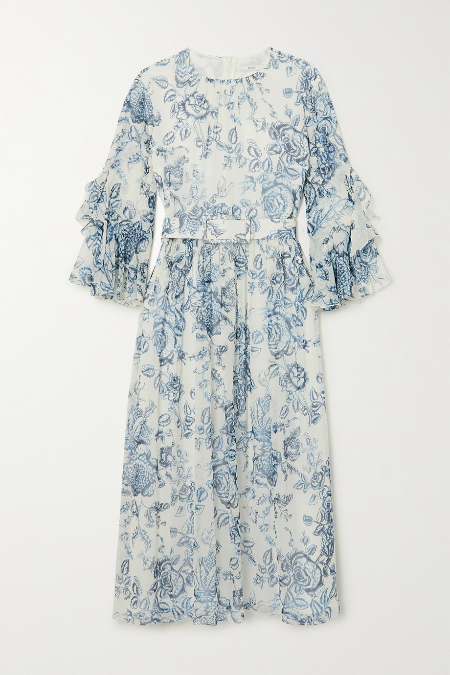 Erdem Adriana belted ruffled floral-print silk-voile midi dress