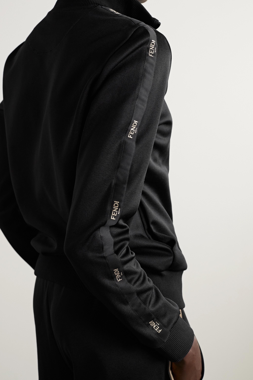 Fendi Trainingsjacke aus technischem Jersey mit Satinbesätzen und Stickereien
