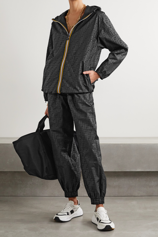 Fendi + K-Way® wendbare Kapuzenjacke aus bedrucktem Shell und Ripstop