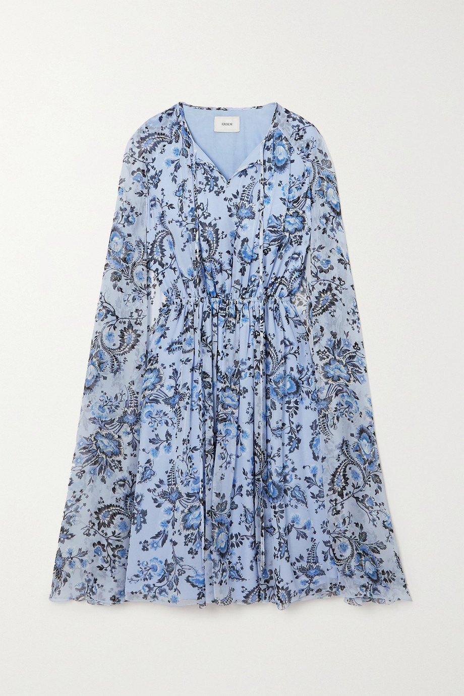 Erdem Austin cape-effect floral-print silk-voile mini dress