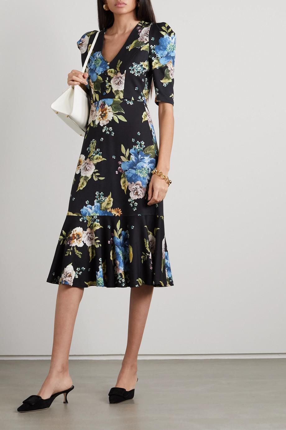 Erdem Ottavia ruffled floral-print ponte midi dress