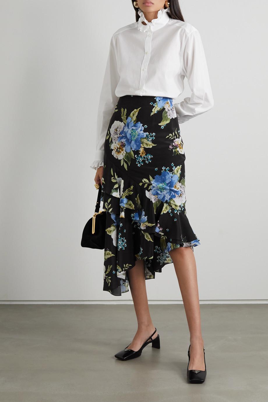 Erdem Antoinette asymmetric ruffled floral-print silk crepe de chine midi skirt