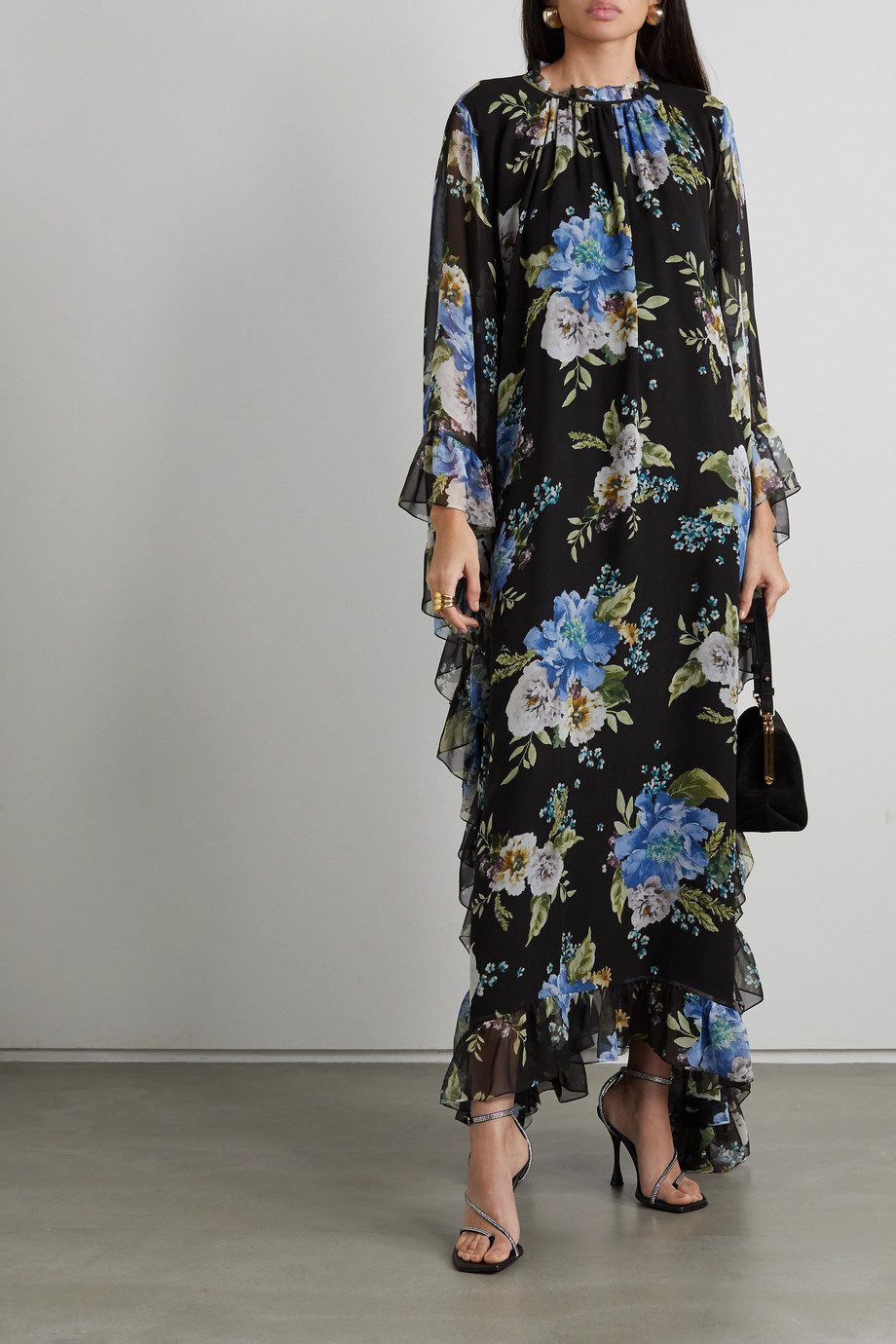 Erdem Darence ruffled floral-print silk-voile maxi dress