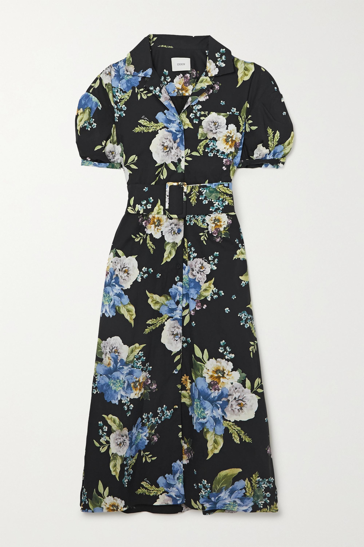 Erdem - Frederick belted floral-print cotton-poplin midi shirt dress
