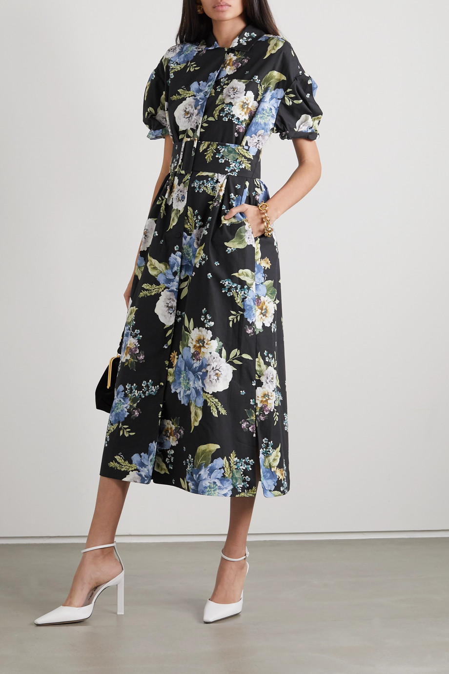 Erdem Frederick belted floral-print cotton-poplin midi shirt dress